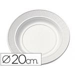 Plato de plástico color blanco llano 20 cm de diámetro de paquete de 50