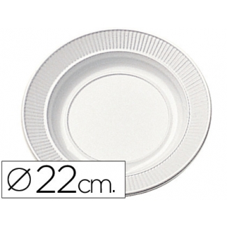 Plato de plástico color blanco llano 22 cm de diámetro de paquete de 100