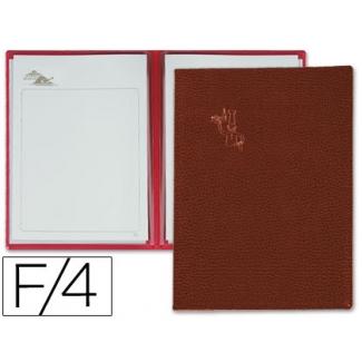 Porta menus Pardo 4 fundas con laminas litografiadas color marron