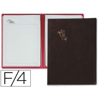 Porta menus Pardo 4 fundas con laminas litografiadas color negro