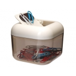Portaclips Q-connect imantado plástico tapa giratoria color blanco