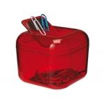 Portaclips Q-connect imantado plástico tapa giratoria color rojo