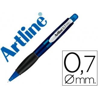 Portaminas Artline retractil sujeción de caucho translúcido 0.7 mm cuerpo color azul