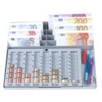 Portamonedas plástico euro Q-connect con bandeja metálica para billetes