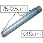 Portaplanos plástico Liderpapel diámetro de 9 cm extensible hasta 125 cm color rojo