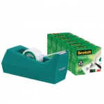 Portarrollo sobremesa Scotch color verde de 19 mm x 33 mt incluye 6 rollos de cinta magic