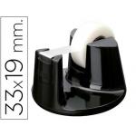 Portarrollo sobremesa Tesa plástico redondo color negro para rollos de hasta 33mx19 mm