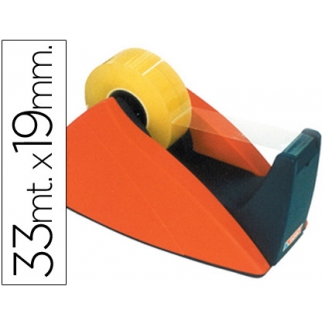Tesa 57421 - Portarrollo sobremesa, para cintas de 33 mt, rojo - azul