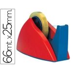 Portarrollo sobremesa Tesa rojo-azul con cuchilla de corte recto para cintas de hasta 66 m x 25 mm