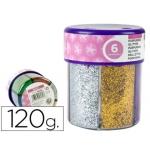 Purpurina Liderpapel fantasía colores metálicos 6 colores surtidos bote de 120 gr