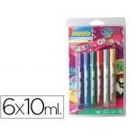 Purpurina pegamento Imedio brillo glitter blister con 6 colores surtidos pastel y basicos