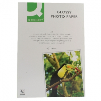 Q-Connect KF02771 - Papel fotográfico, brillo, tamaño A4, 180 gramos, paquete de 50 hojas