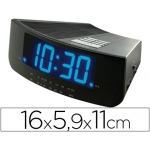 Radio reloj despertador con dos alarmas iluminación led color azul