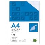 Recambio Liderpapel tamaño A4 100 hojas 100 gr/m2 cuadrícula de 2 mm con margen 4 taladros