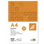 Recambio Liderpapel tamaño A4 100 hojas 100 gr/m2 horizontal con margen 4 taladros
