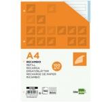 Recambio Liderpapel tamaño A4 100 hojas 100 gr/m2 rayado horizontal 4 taladros bandas de 5 colores