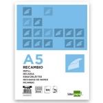 Recambio Liderpapel tamaño A5 120 hojas 70 gr/m2 cuadrícula de 5 mm sin margen 6 taladros bandas de 5 colores