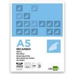 Recambio Liderpapel tamaño A5 120 hojas 70 gr/m2 horizontal sin margen 6 taladros bandas de 5 colores