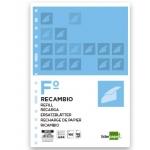 Recambio Liderpapel tamaño folio 100 hojas 60 gr/m2 pauta 5ª 2.5 mm con margen 16 taladros