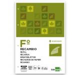 Recambio Liderpapel tamaño folio 100 hojas 80 gr/m2 milimetrado sin margen 16 taladros
