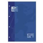 Recambio color Oxford tamaño A4 80 hojas 90 grs cuadros 5 mm 4 taladros azul