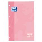 Recambio color Oxford tamaño A4 80 hojas 90 grs cuadros 5 mm 4 taladros color rosa dulce