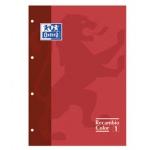 Recambio color Oxford tamaño A4 80 hojas 90 grs cuadros 5 mm 4 taladros rojo