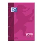 Recambio color Oxford tamaño A4 80 hojas 90 grs cuadros 5 mm 4 taladros rosa