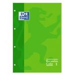 Recambio color Oxford tamaño A4 80 hojas 90 grs cuadros 5 mm 4 taladros verde