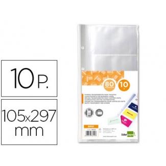 Liderpapel RP01 - Recambio de fundas para tarjetero, paquete de 10 fundas (8 tarjetas por hoja)