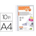 Recambio fundas Liderpapel tamaño A4 para tarjetero bolsa de 10 hojas capacidad 20 tarjetas por hoja