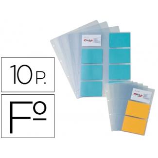 Pardo 212800 - Recambio de fundas para tarjetero, paquete de 10 fundas (16 tarjetas por hoja)