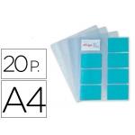 Recambio fundas Pardo para tarjetero tamaño A4 bolsa de 20 hojas capacidad 16 tarjetas por hoja