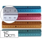 Regla Liderpapel 15 cm aluminio colores surtidos