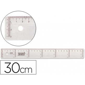 Regla Liderpapel 30 cm plástico cristal