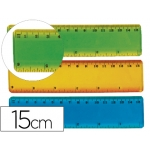 Liderpapel RG10 - Regla de plástico flexible, 15 cm, colores surtidos transparentes
