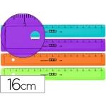 Regla Mor 16 cm plástico de colores surtidos graduada y biselada