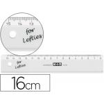 Regla Mor 16 cm plástico transparente para zurdos