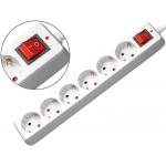 Regleta 6 tomas Mediarange color blanca con interruptor longitud cable 1,4m