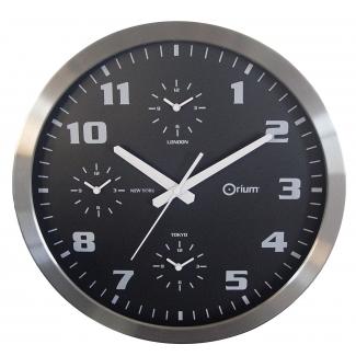 Reloj Cep de pared cromado oficina redondo 40 cm de diámetro de con 4 horario del mundo