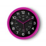 Reloj Cep de pared plástico oficina redondo 30 cm de diámetro de color rosa y esfera color negro