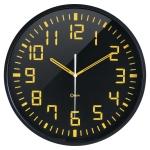 Reloj Orium de pared analógico digito grande color amarillo fondo negro diámetro de 30 cm