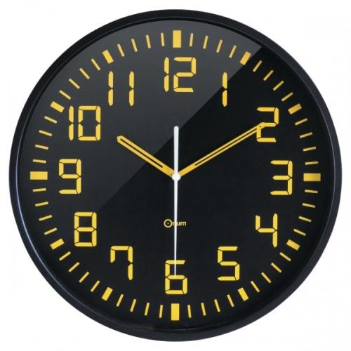 94fb567ff85c Reloj Orium de pared analógico digito grande color amarillo fondo negro  diámetro de 30 cm