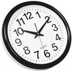 Reloj Q-Connect de pared plástico oficina redondo 28 cm marco color negro