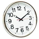 Reloj Q-Connect de pared plástico oficina redondo 35 cm marco cromado