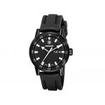 Reloj Wenger co mm ando black line dial color negro correa silicona negra