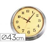 Reloj de pared plástico 810 pt fantasía redondo 43 cm esfera naranja marco cromado
