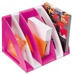 Cep - Revistero de plástico, modular con 5 compartimentos, color blanco y rosa