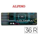 Rotulador Alpino colorful caja metálica de 36 colores