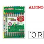 Rotulador Alpino double double punta gruesa y punta fina caja de 10 colores